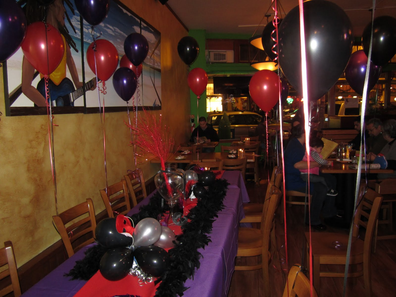 How to decorate a birthday dinner red purple black theme my blog - Restaurant decor supplies ...